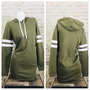 Olive green varsity hoody dress size small